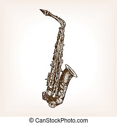 Saxophone hand drawn sketch style vector