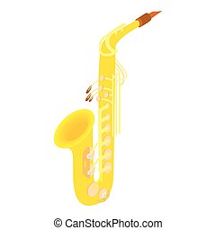 Saxophone icon, cartoon style