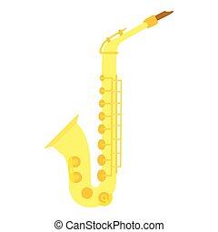 Saxophone icon, flat style