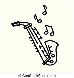 Saxophone icon illustration vector isolated on white