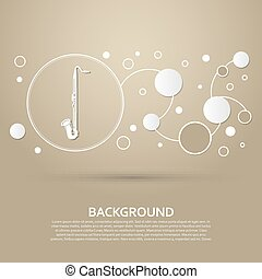 Saxophone icon on a brown background with elegant style and modern design infographic. Vector