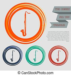 Saxophone icon on the red, blue, green, orange buttons for your website and design with space text. Vector