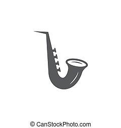Saxophone icon on white background