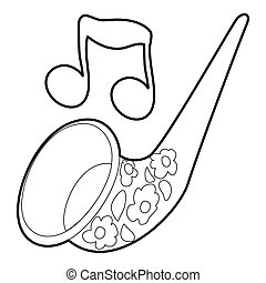 Saxophone icon, outline style