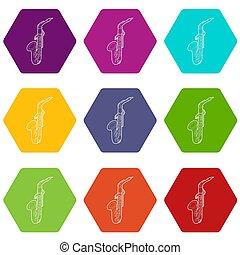 Saxophone icons set 9