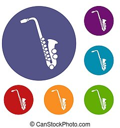 Saxophone icons set in flat circle reb, blue and green color...
