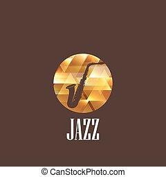 saxophone, illustration, icône