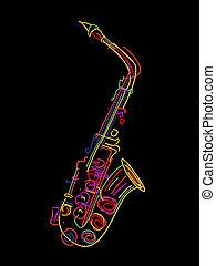 Saxophone  - Illustration of a saxophone over black