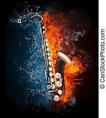 Saxophone in Fire and Water Isolated on Black Background