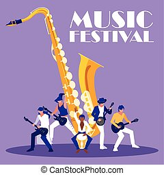 Saxophone instrument and musicians vector design