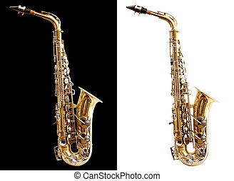 Saxophone - Isolated saxophone with clipping path on black...