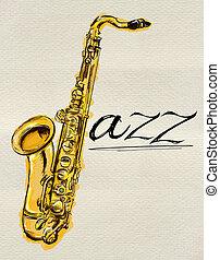 saxophone,  jazz, peinture