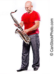 saxophone, jouer, homme