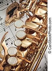 Saxophone keys closeup - Alto Saxophone main, palm left hand...