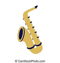 saxophone musical instrument on white background
