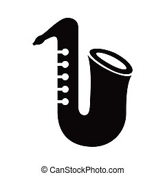 saxophone musical instrument silhouette style icon