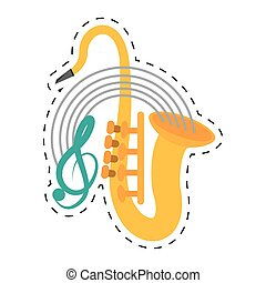 saxophone musical instrument wind dotted line
