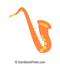 saxophone musical on white background