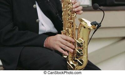 saxophone, musicien, rue, jouer