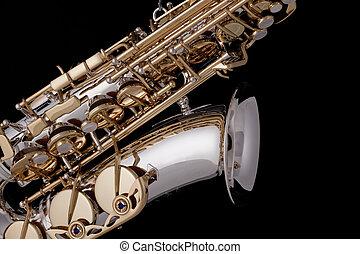 saxophone, noir, argent, or, isolé