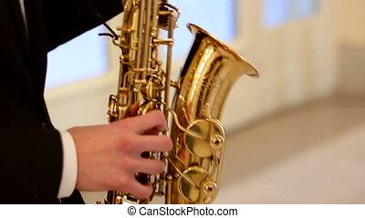 saxophone, noir, jeux, complet