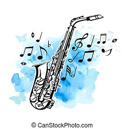 Saxophone on a blue watercolor background