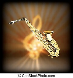 Saxophone on a blurred background treble clef