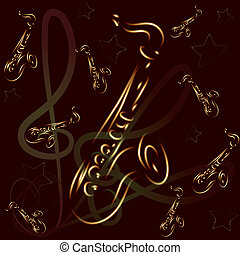 saxophone on abstract background