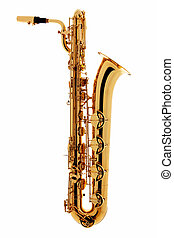 Saxophone over white background