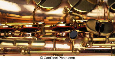 Saxophone. Part of saxophone close-up