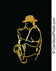 Saxophone player - Musician sketch silhouette on a black...