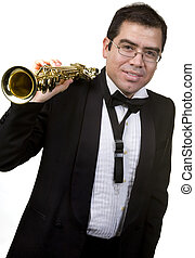 Saxophone Player Isolated On White
