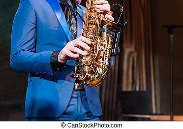 Saxophone player jazz music instrument Saxophonist