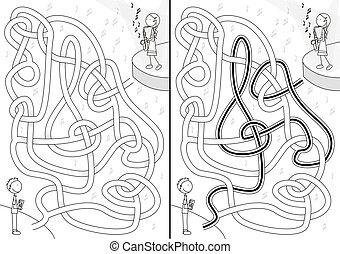 Saxophone player maze
