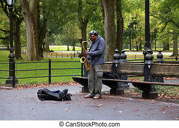Saxophone Player - NEW YORK CITY - OCTOBER 9: A saxaphonist...