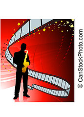 Saxophone player on film reel background