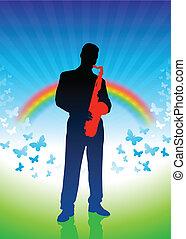 saxophone player on rainbow background