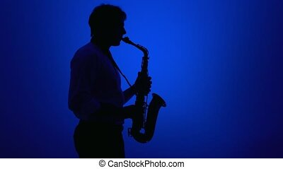 Saxophone player over a blue background.