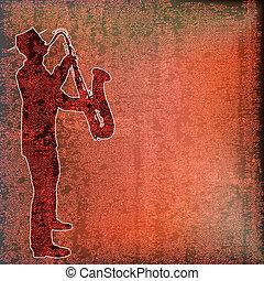 Saxophone Player over vintage paper background