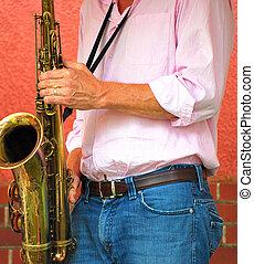 Saxophone player.