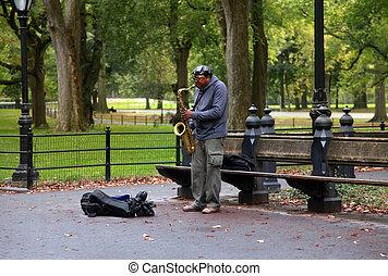 Saxophone Player - NEW YORK CITY - OCTOBER 9: A saxaphonist...