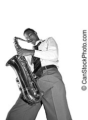Saxophone Player - A saxophone player shows off his talents...