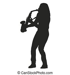 saxophone, player., vecteur, silhouette