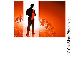 Saxophone player with musical group background