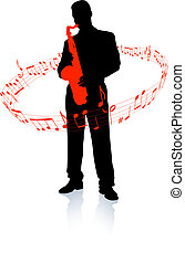 Saxophone player with musical notes