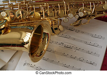 Saxophone on music