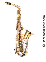 saxophone - very old saxophone on the white background