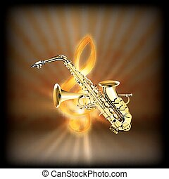 Saxophone trumpet  on a blurred background treble clef