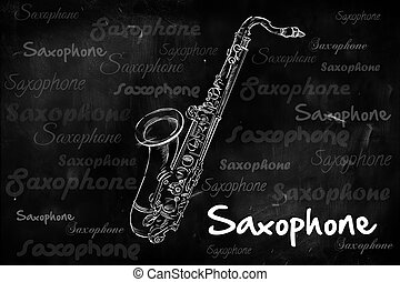 Saxophone typography sketching on blackboard music wallpaper