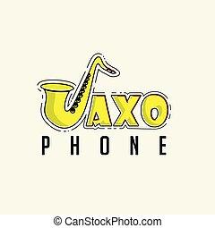 saxophone, vecteur, typographie, illustration